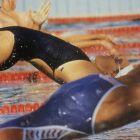 The start of the 100-meter backstroke preliminary at the 1984 Olympics, in Los Angeles.